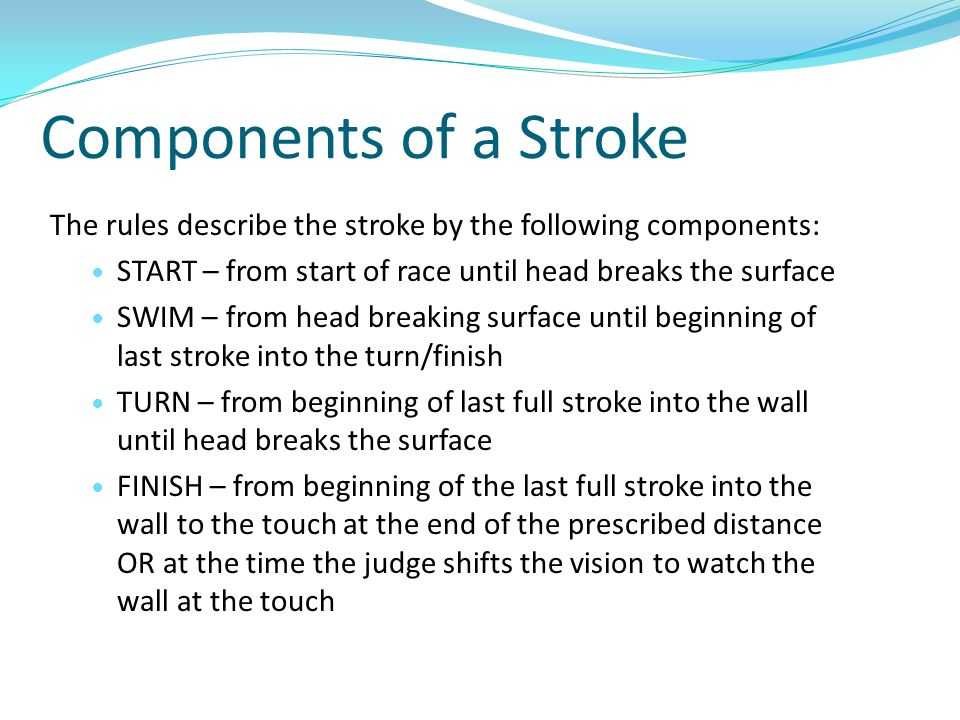 Components of a Stroke The rules describe the stroke by the following components: START – from start of race until head breaks the surface.