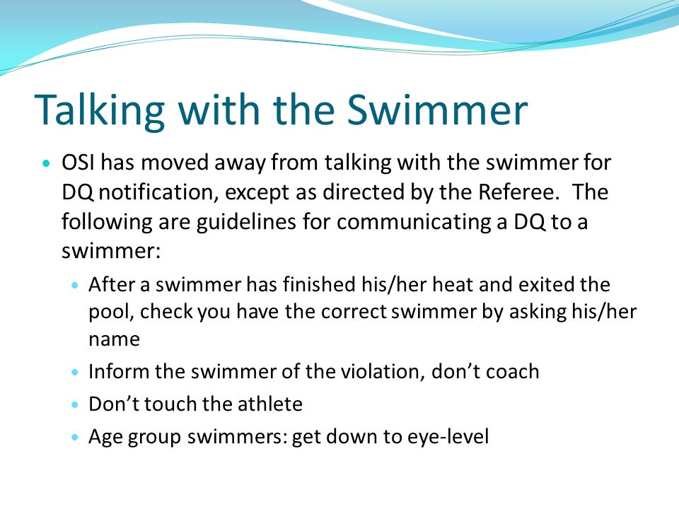 Talking with the Swimmer