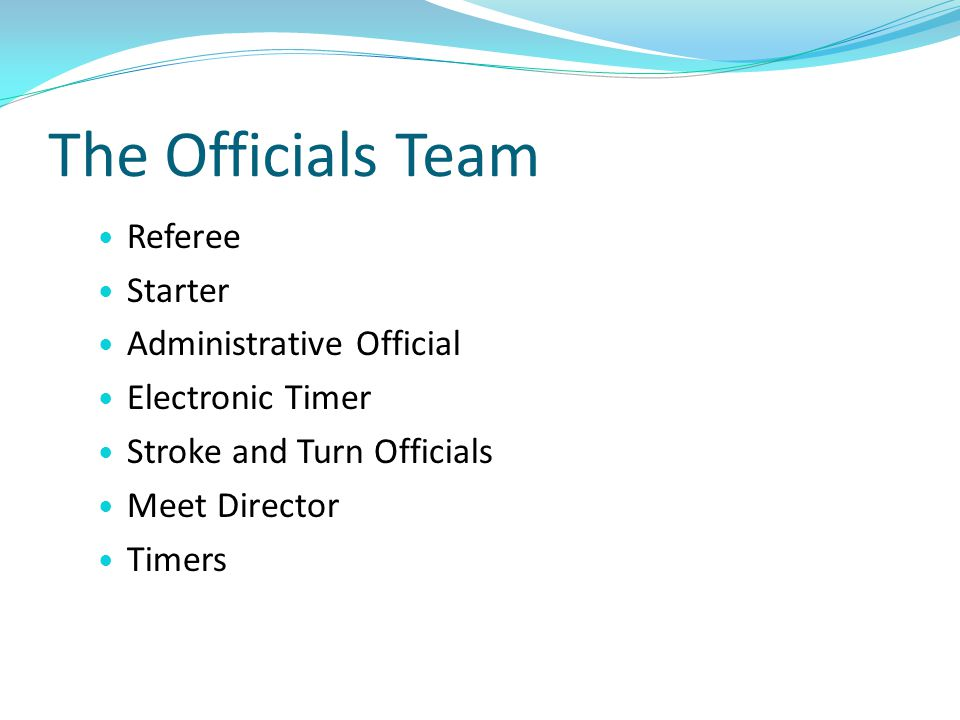The Officials Team Referee Starter Administrative Official
