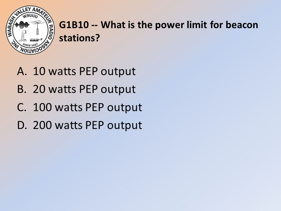G1B10 -- What is the power limit for beacon stations