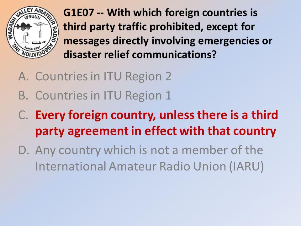 A. Countries in ITU Region 2 B. Countries in ITU Region 1