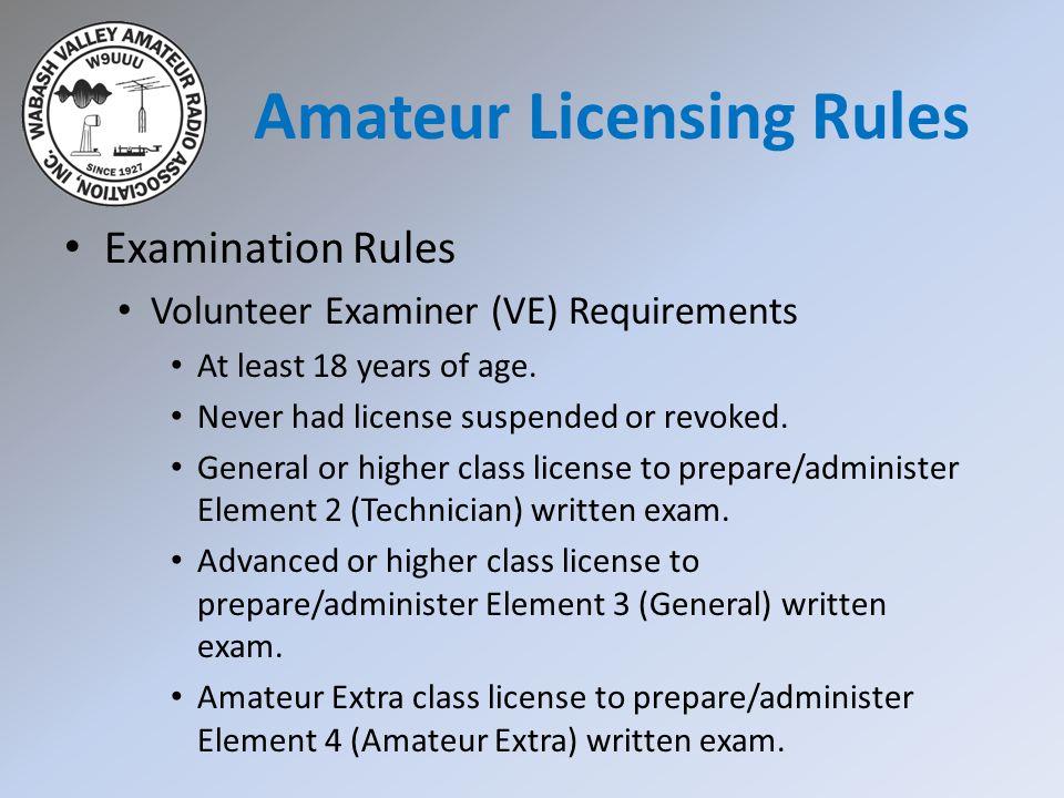 Amateur Licensing Rules