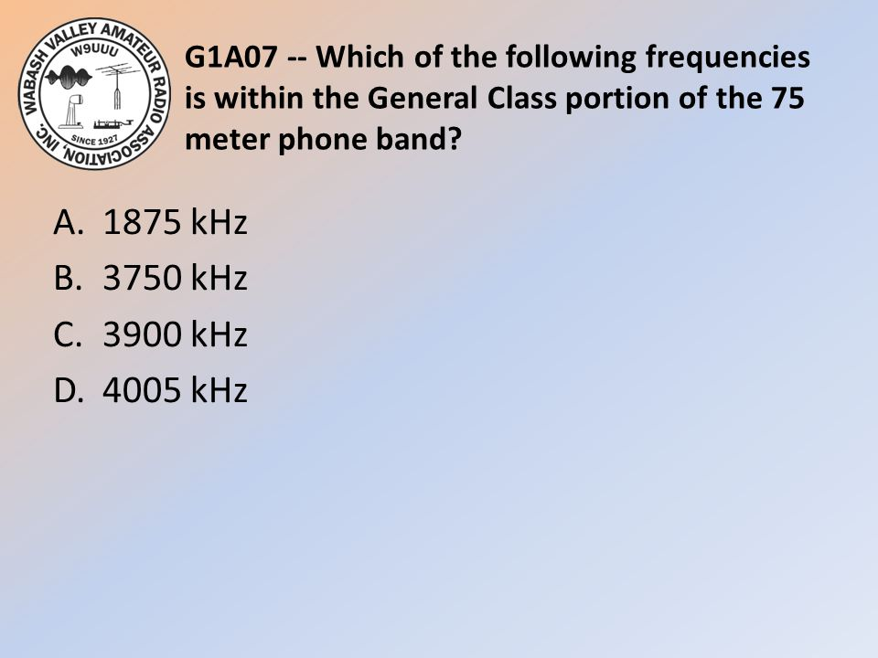 G1A07 -- Which of the following frequencies is within the General Class portion of the 75 meter phone band
