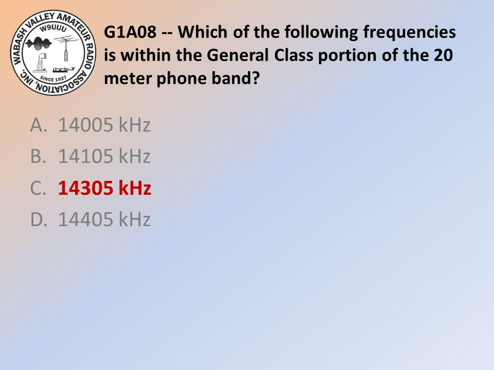 G1A08 -- Which of the following frequencies is within the General Class portion of the 20 meter phone band