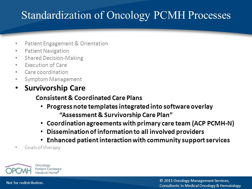 Standardization of Oncology PCMH Processes