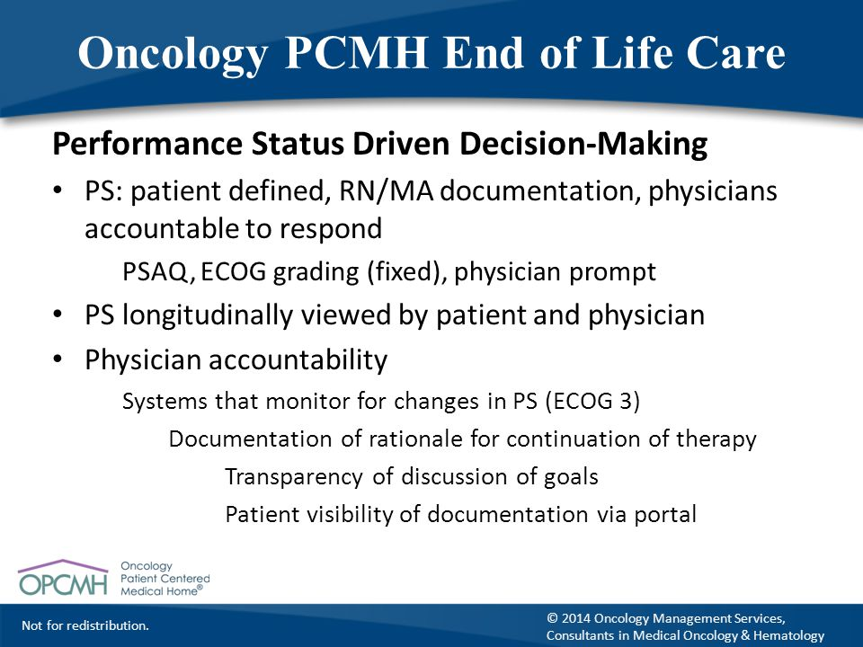 Oncology PCMH End of Life Care