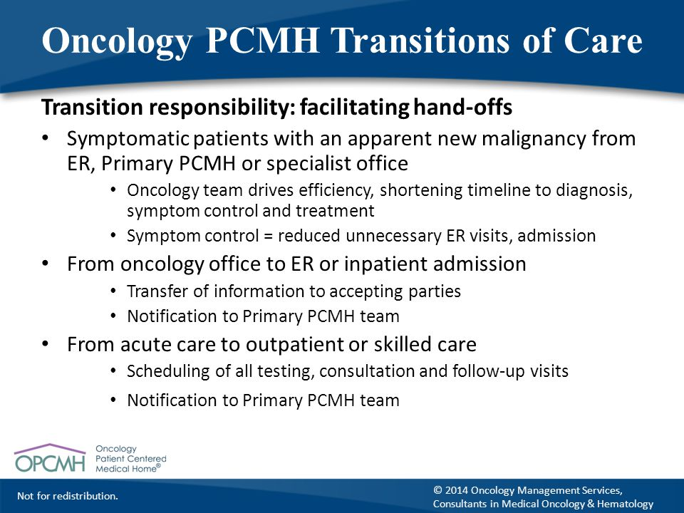 Oncology PCMH Transitions of Care