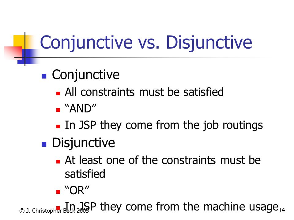 Conjunctive vs. Disjunctive