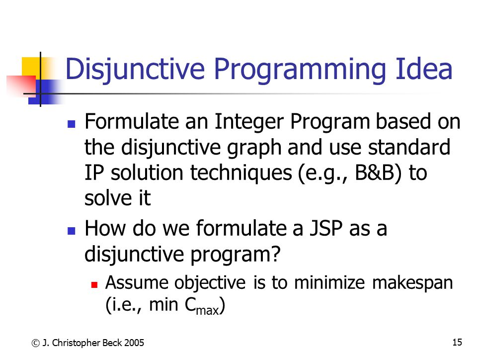 Disjunctive Programming Idea