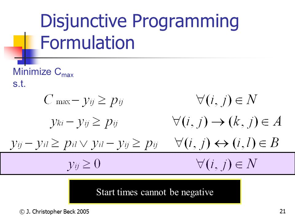 Disjunctive Programming Formulation