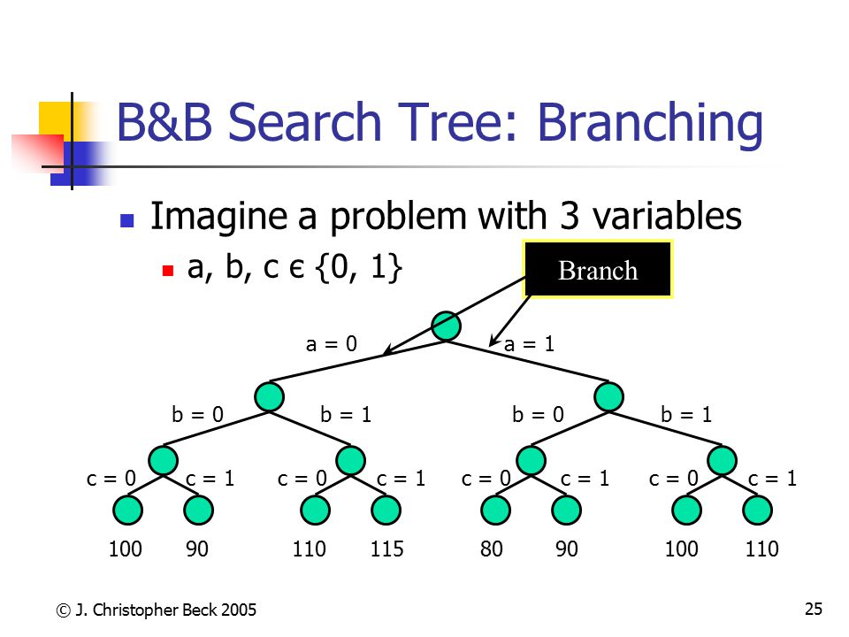 B&B Search Tree: Branching
