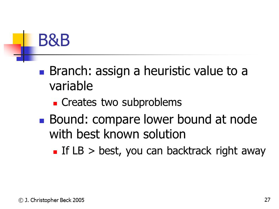 B&B Branch: assign a heuristic value to a variable