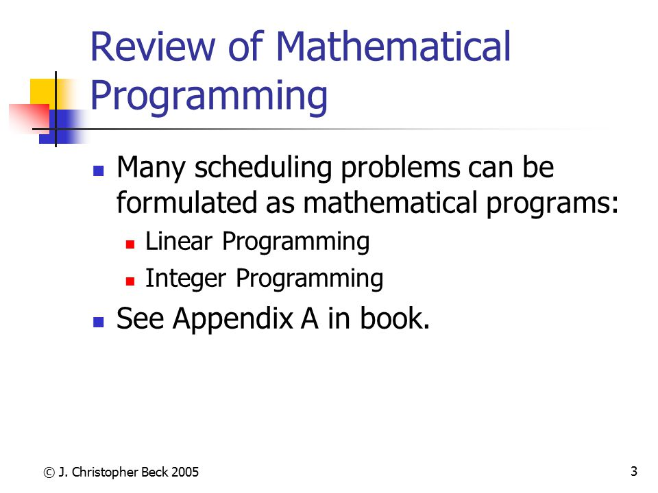 Review of Mathematical Programming