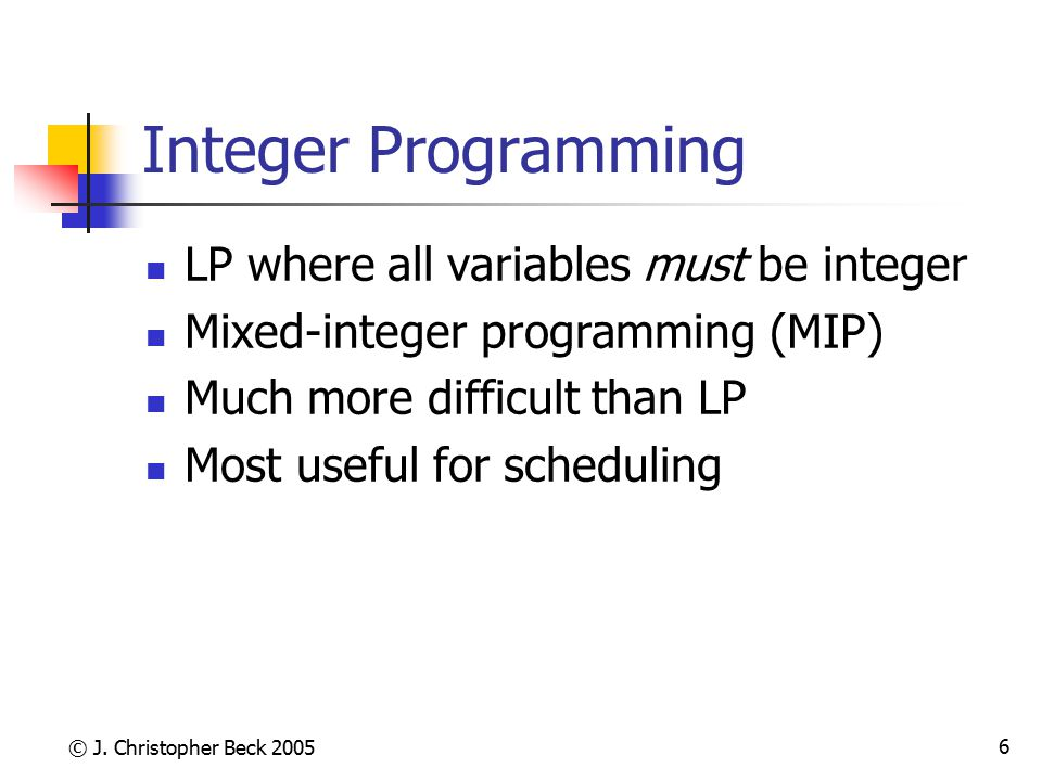 Integer Programming LP where all variables must be integer