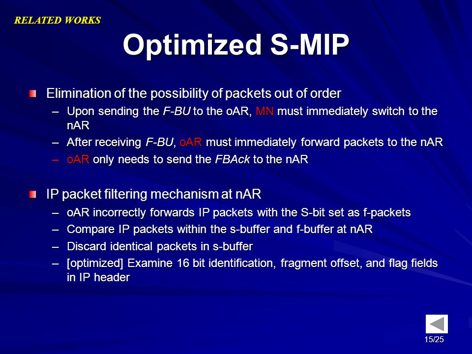 Optimized S-MIP Elimination of the possibility of packets out of order