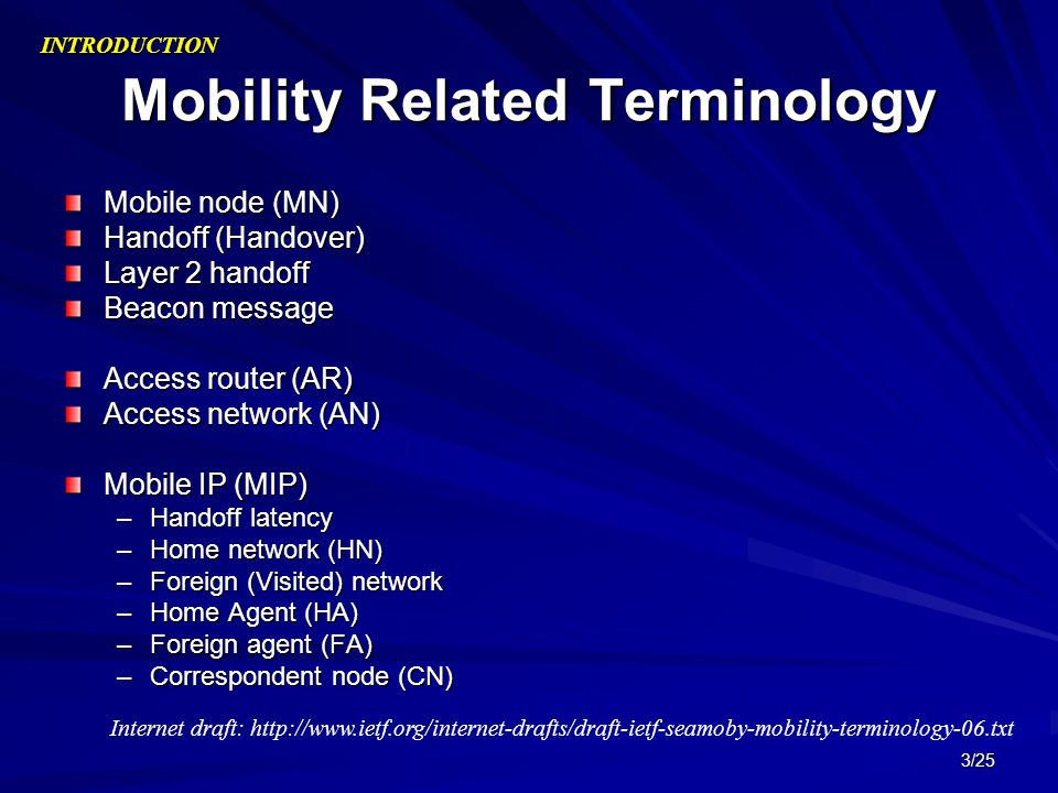 Mobility Related Terminology