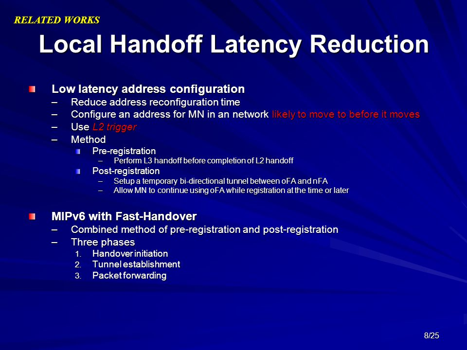 Local Handoff Latency Reduction