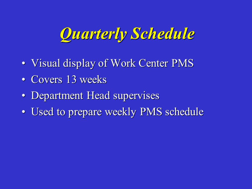 Quarterly Schedule Visual display of Work Center PMS Covers 13 weeks