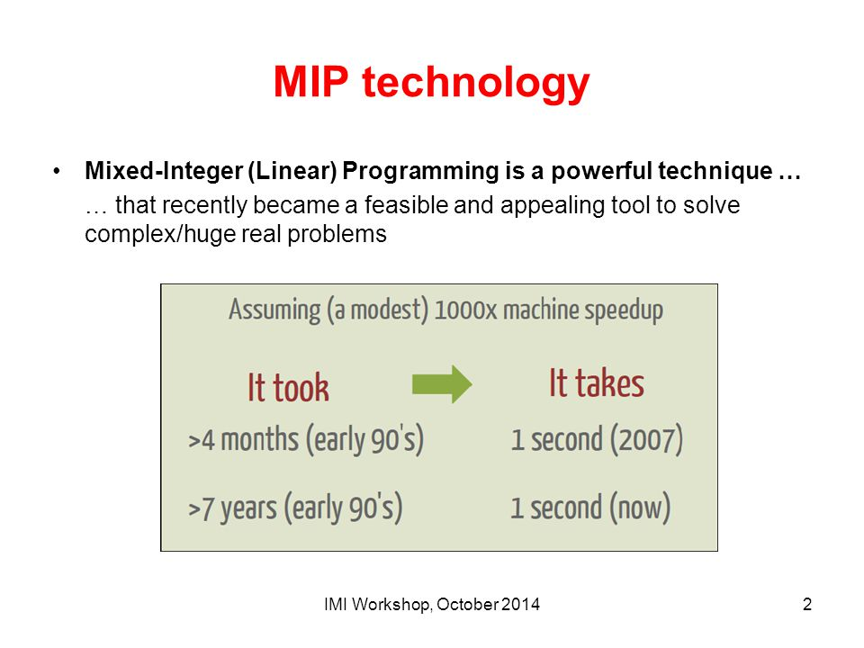 MIP technology Mixed-Integer (Linear) Programming is a powerful technique …