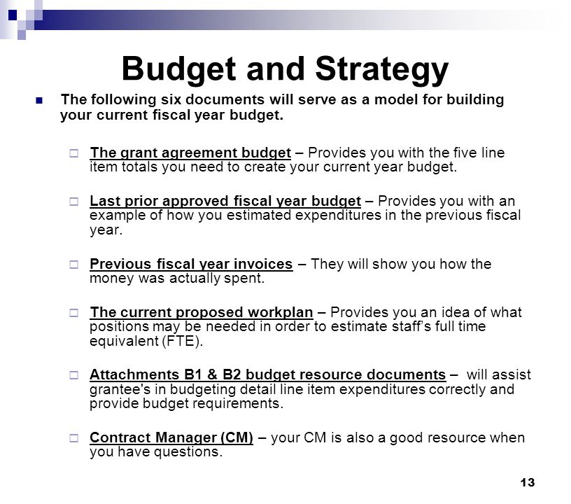 Budget and Strategy The following six documents will serve as a model for building your current fiscal year budget.