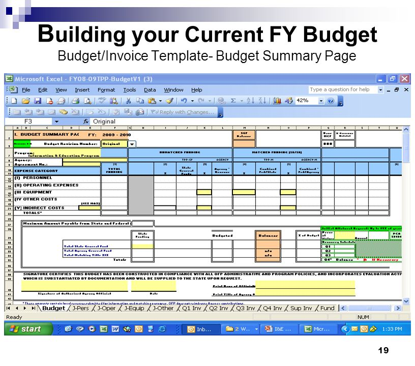 Building your Current FY Budget Budget/Invoice Template- Budget Summary Page