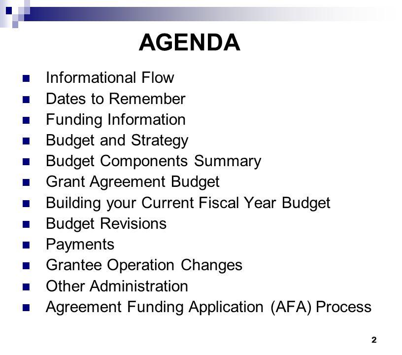 AGENDA Informational Flow Dates to Remember Funding Information