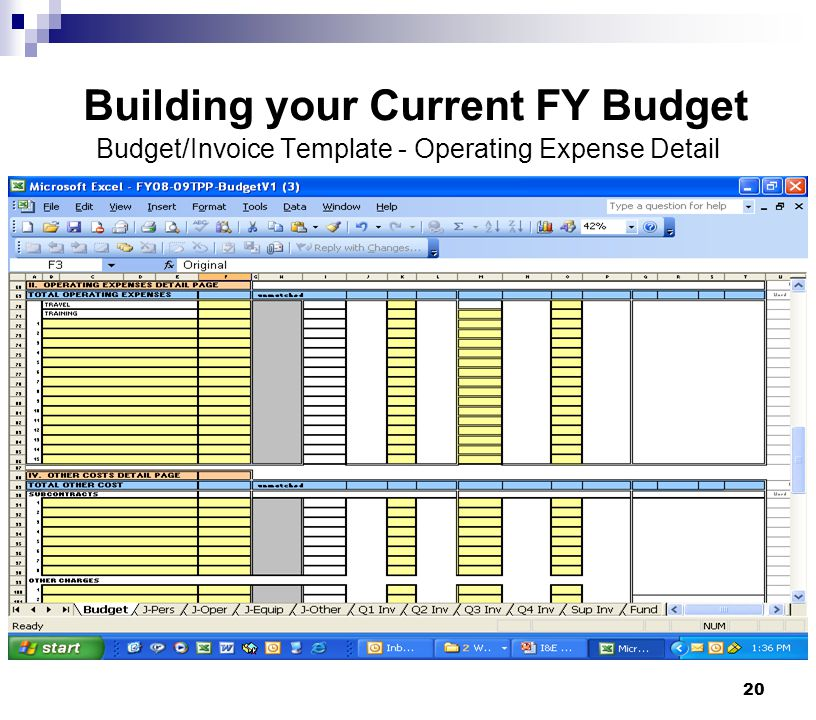 Building your Current FY Budget Budget/Invoice Template - Operating Expense Detail
