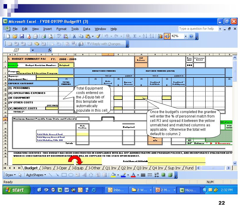 Building your Current FY Budget Budget/Invoice Template - Budget Summary Page
