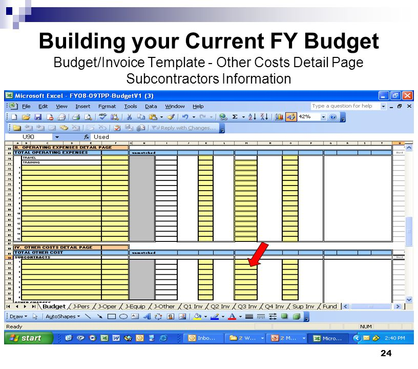 Building your Current FY Budget Budget/Invoice Template - Other Costs Detail Page Subcontractors Information