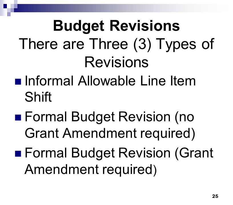 Budget Revisions There are Three (3) Types of Revisions