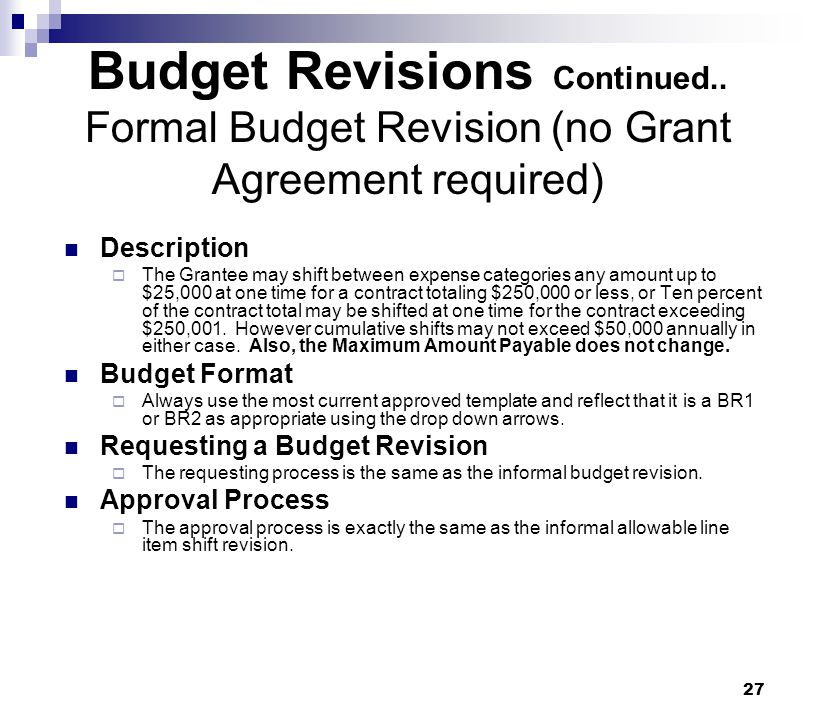 Budget Revisions Continued