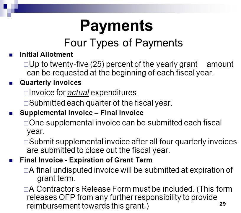 Payments Four Types of Payments