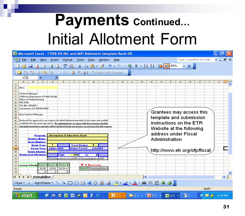 Payments Continued… Initial Allotment Form