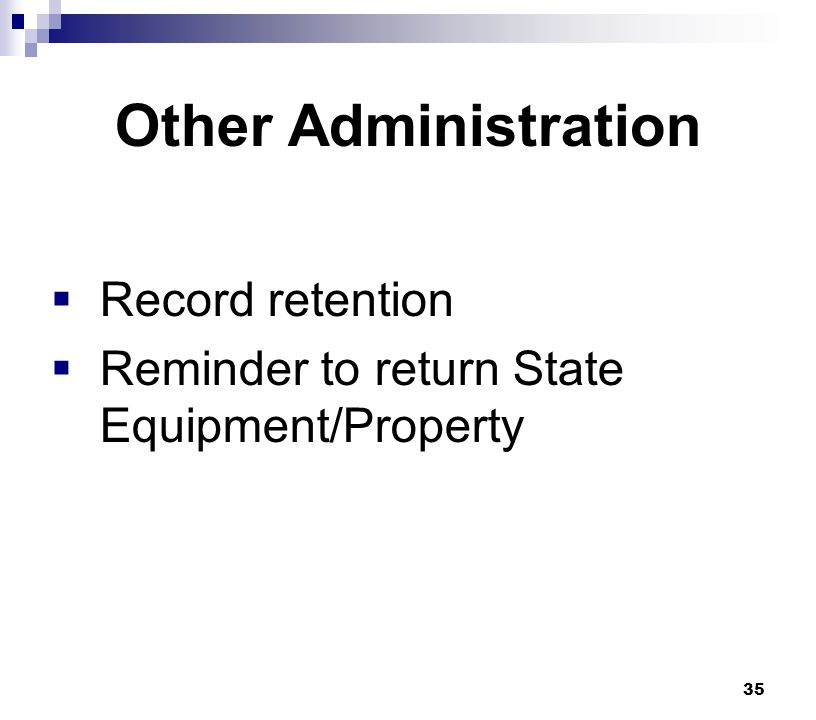 Other Administration Record retention