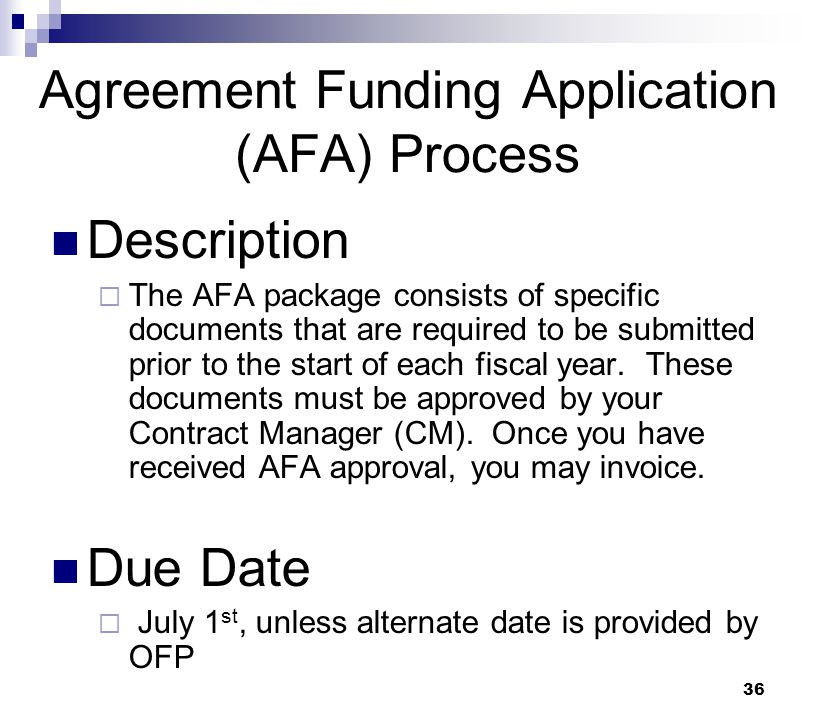 Agreement Funding Application (AFA) Process