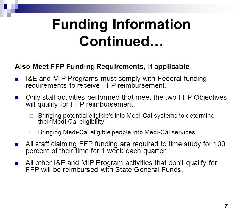 Funding Information Continued…