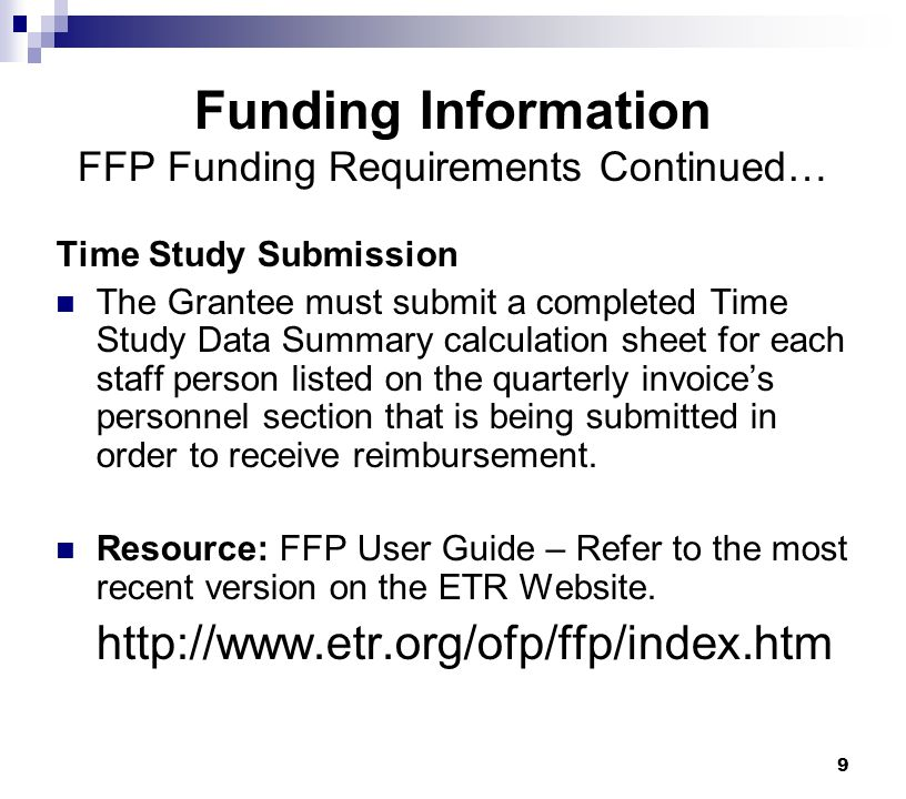 Funding Information FFP Funding Requirements Continued…