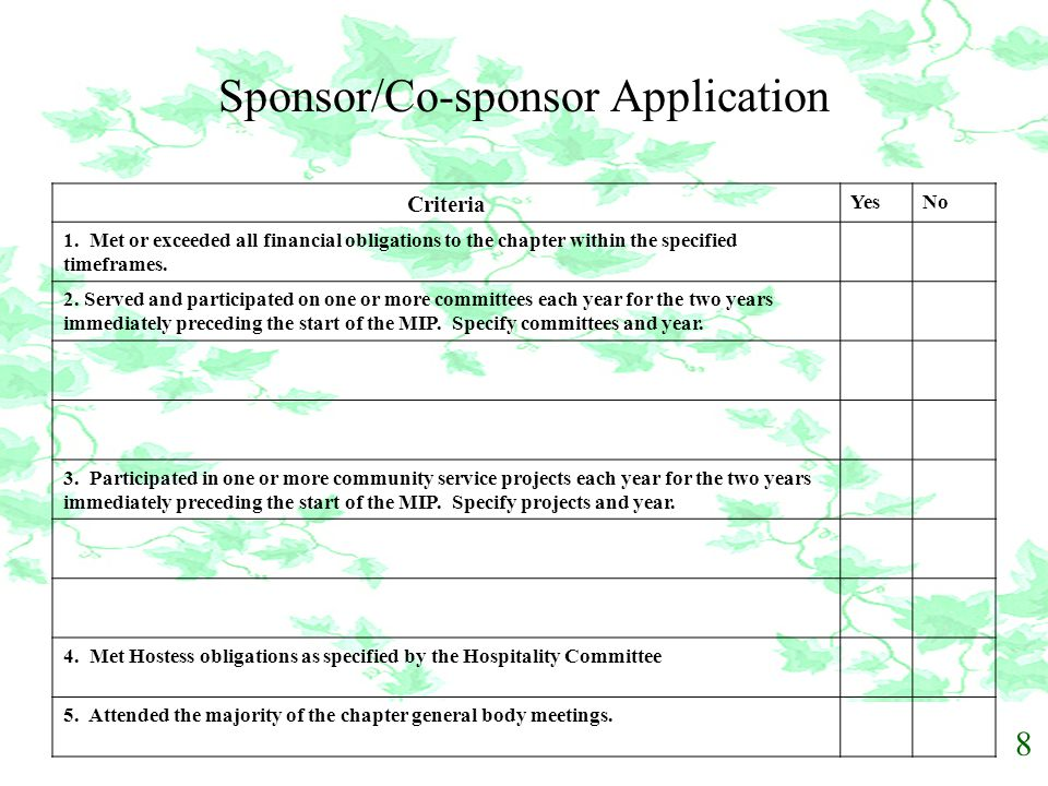 Sponsor/Co-sponsor Application