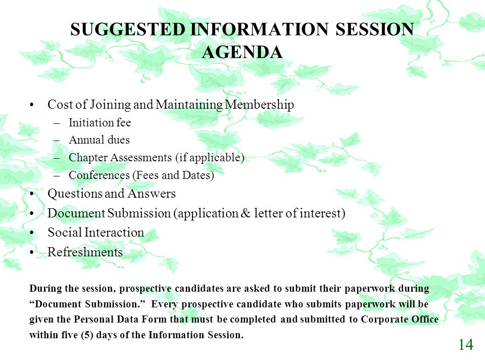 SUGGESTED INFORMATION SESSION AGENDA