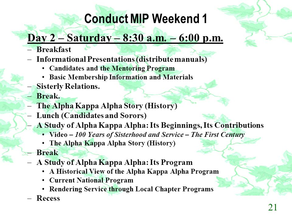 Conduct MIP Weekend 1 Day 2 – Saturday – 8:30 a.m. – 6:00 p.m. 21