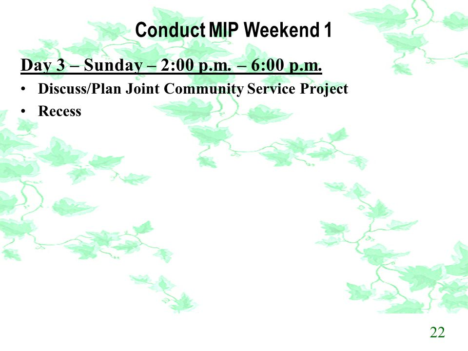 Conduct MIP Weekend 1 Day 3 – Sunday – 2:00 p.m. – 6:00 p.m.