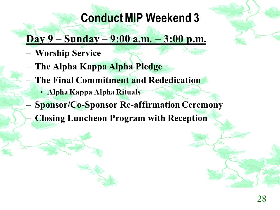 Conduct MIP Weekend 3 Day 9 – Sunday – 9:00 a.m. – 3:00 p.m.
