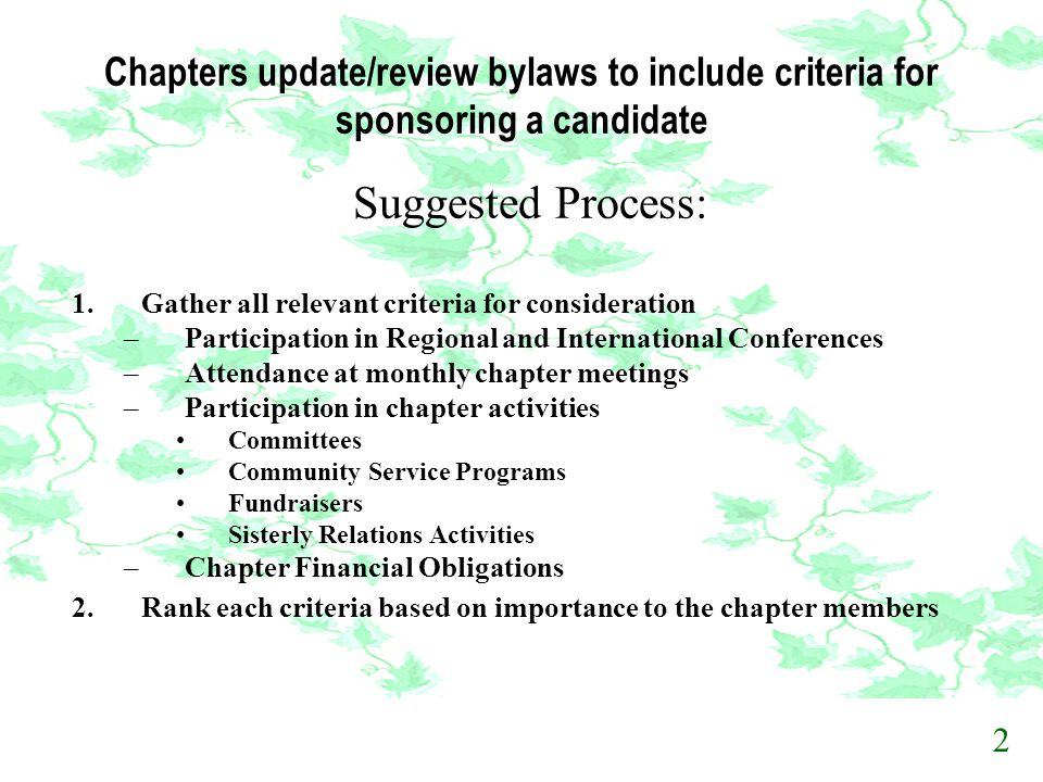 Chapters update/review bylaws to include criteria for sponsoring a candidate