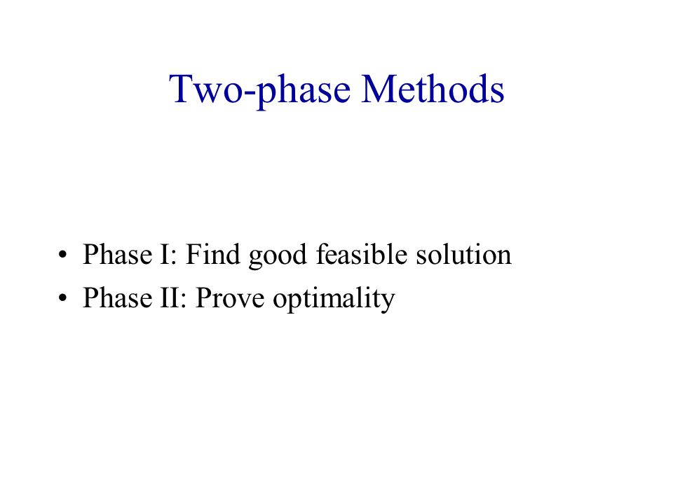 Two-phase Methods Phase I: Find good feasible solution