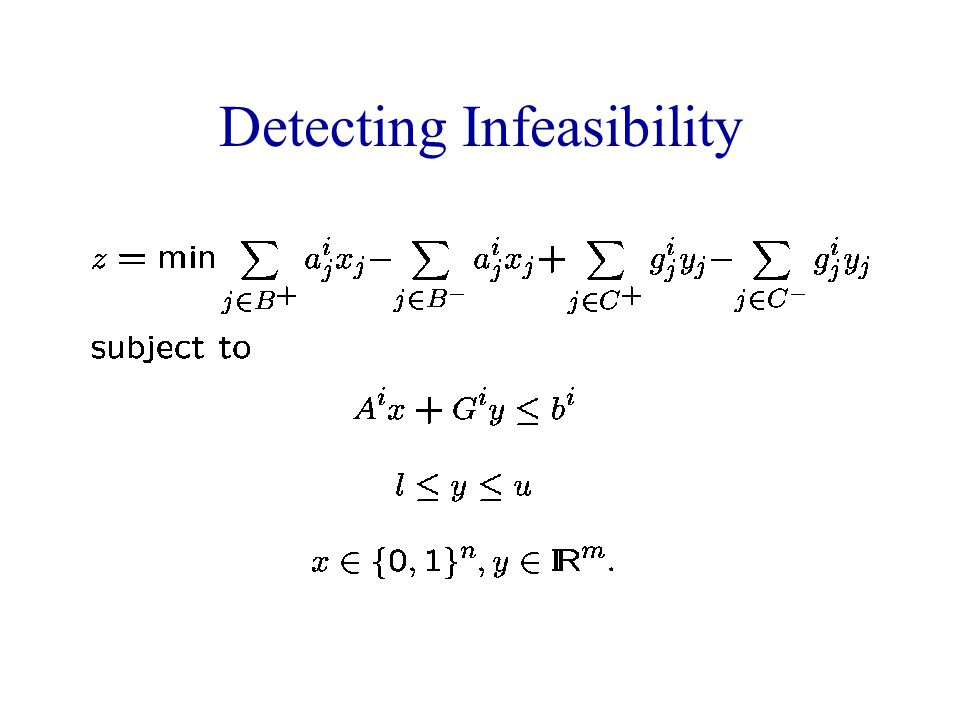 Detecting Infeasibility