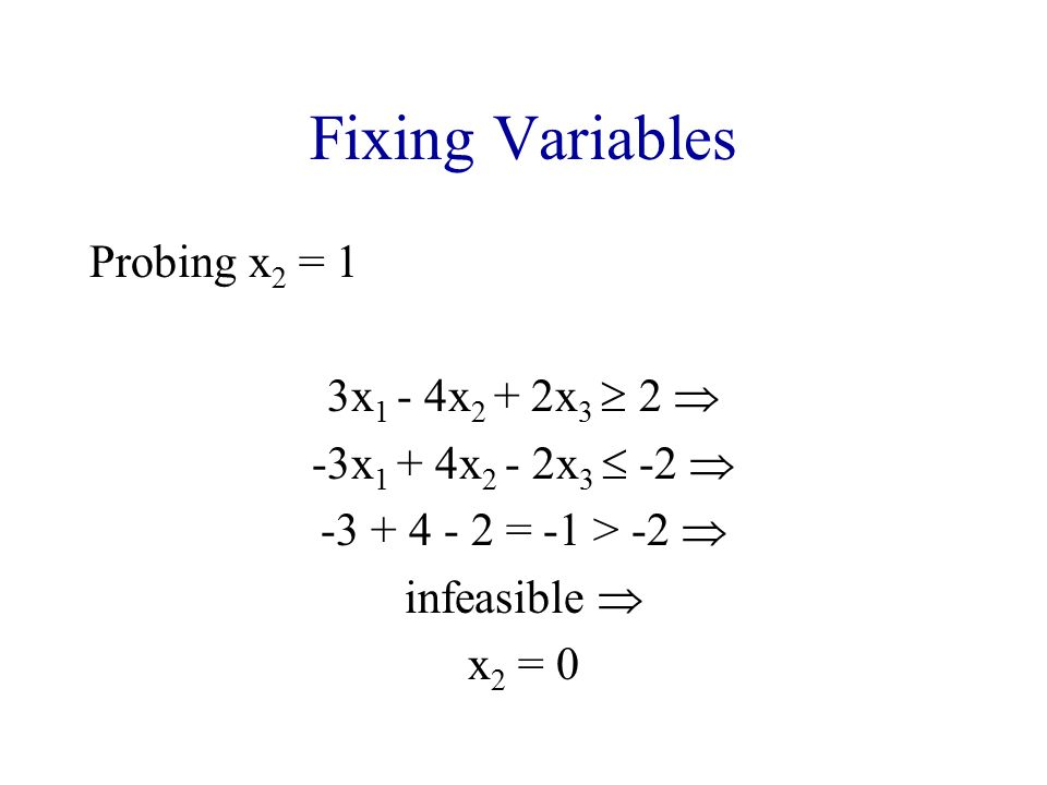Fixing Variables Probing x2 = 1 3x1 - 4x2 + 2x3  2 