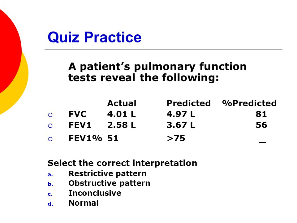 Quiz Practice A patient's pulmonary function tests reveal the following: Actual Predicted %Predicted.
