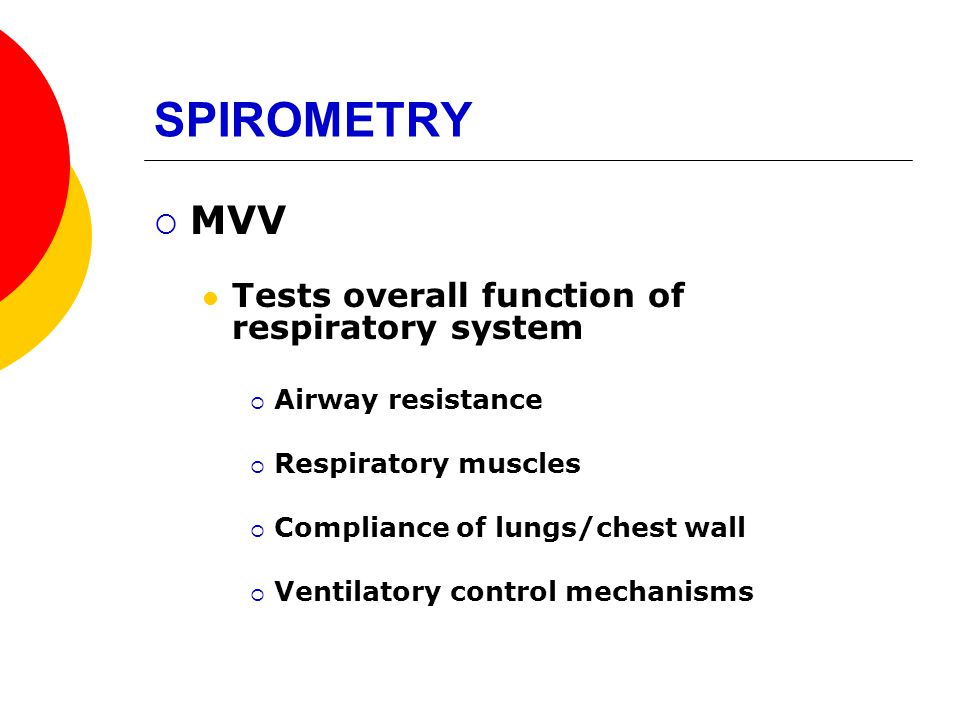 SPIROMETRY MVV Tests overall function of respiratory system