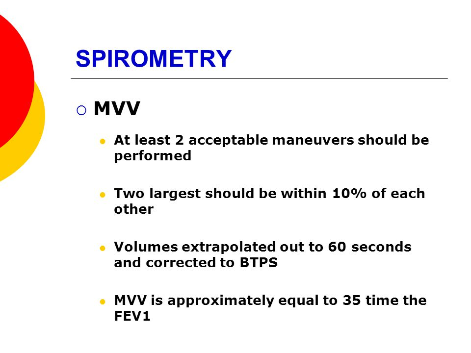 SPIROMETRY MVV At least 2 acceptable maneuvers should be performed