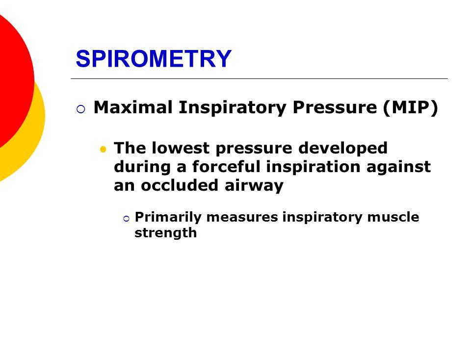 SPIROMETRY Maximal Inspiratory Pressure (MIP)